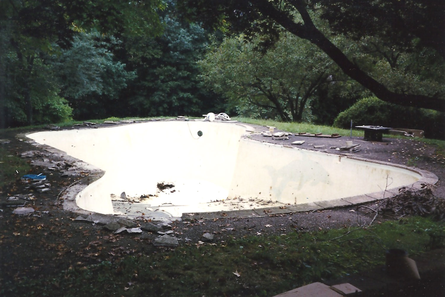 Before Renovation: Cantilever Decking, Tile and Plaster, Washington Crossing, PA