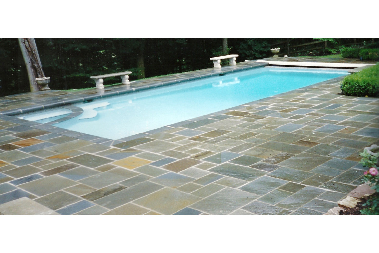 Renovation: Bluestone Deck, Coping Tile and Plaster, Washington Crossing, PA