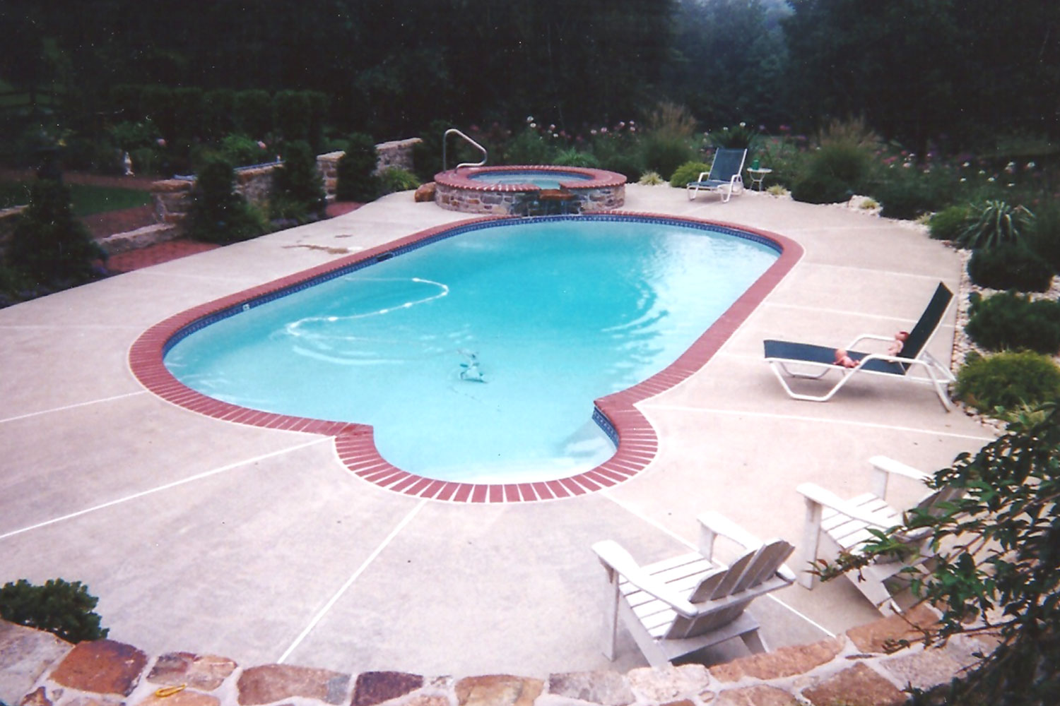 Complete Renovation, 1996: Brick Coping, Tile, Re-Plaster, New Concrete Deck and added Raised Spa, New Hope, PA