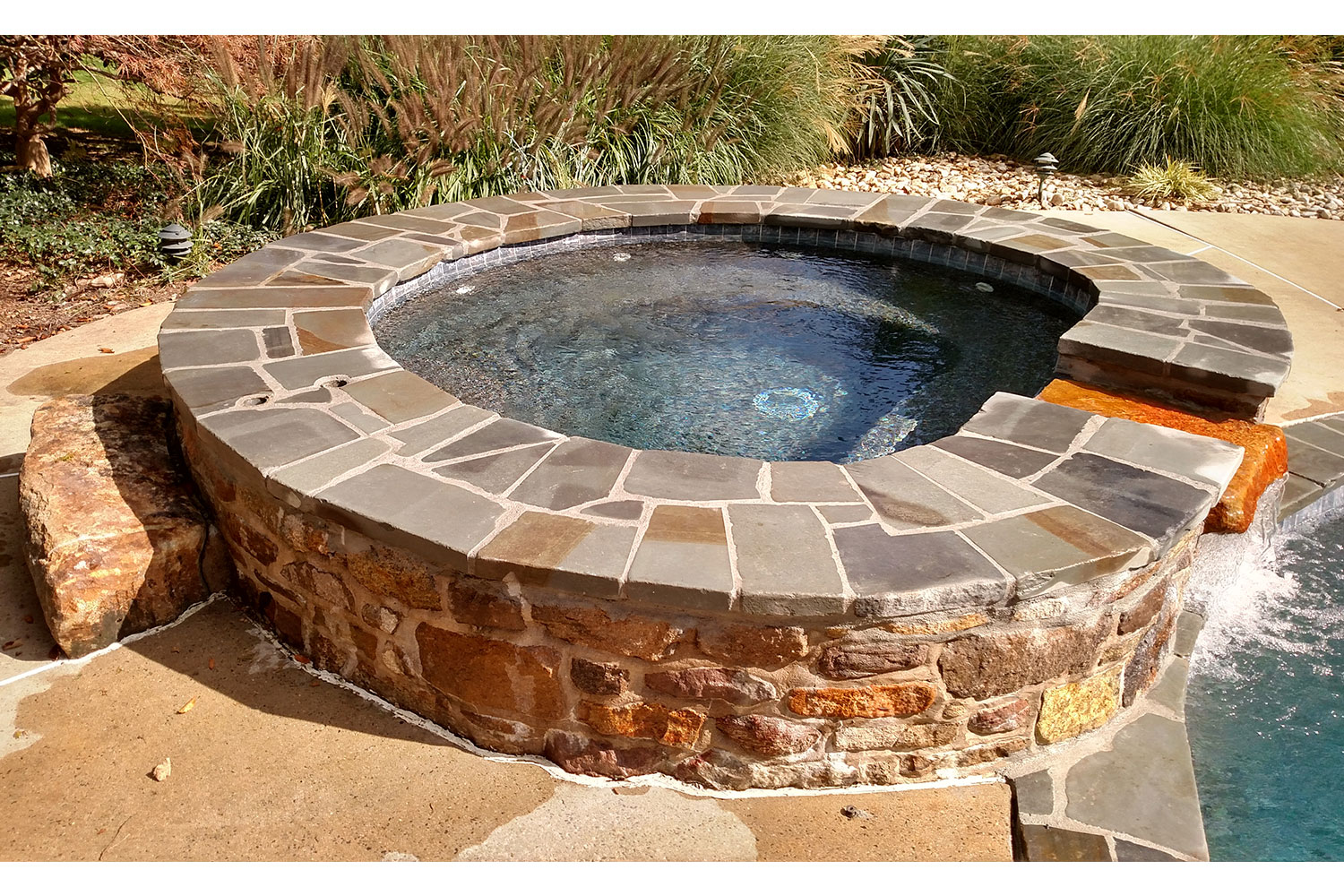 Complete Renovation, 2018: Raised Spa Renovated with Tumbled Bluestone Coping, New Ceramic Tile and Pebble Tec Interior Finish, New Hope, PA